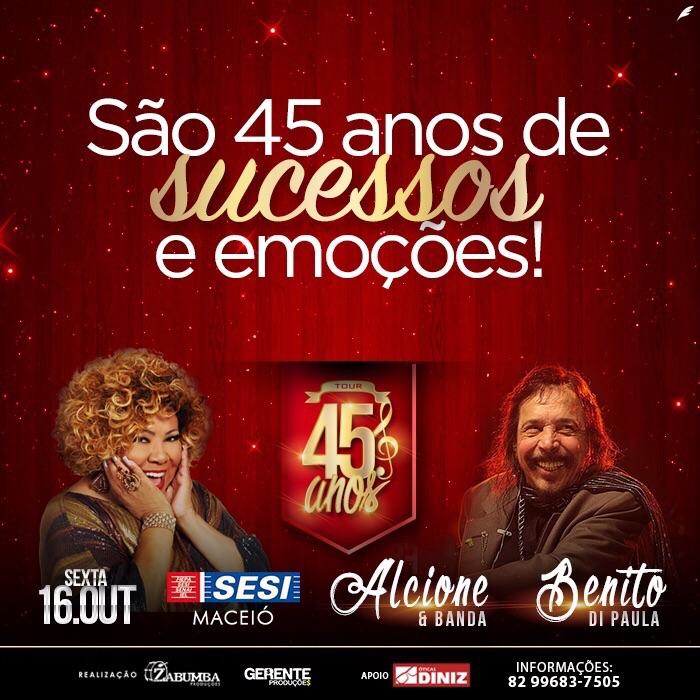 Alcione e Benito Di Paula se apresentam em Maceió no dia 16 de outubro