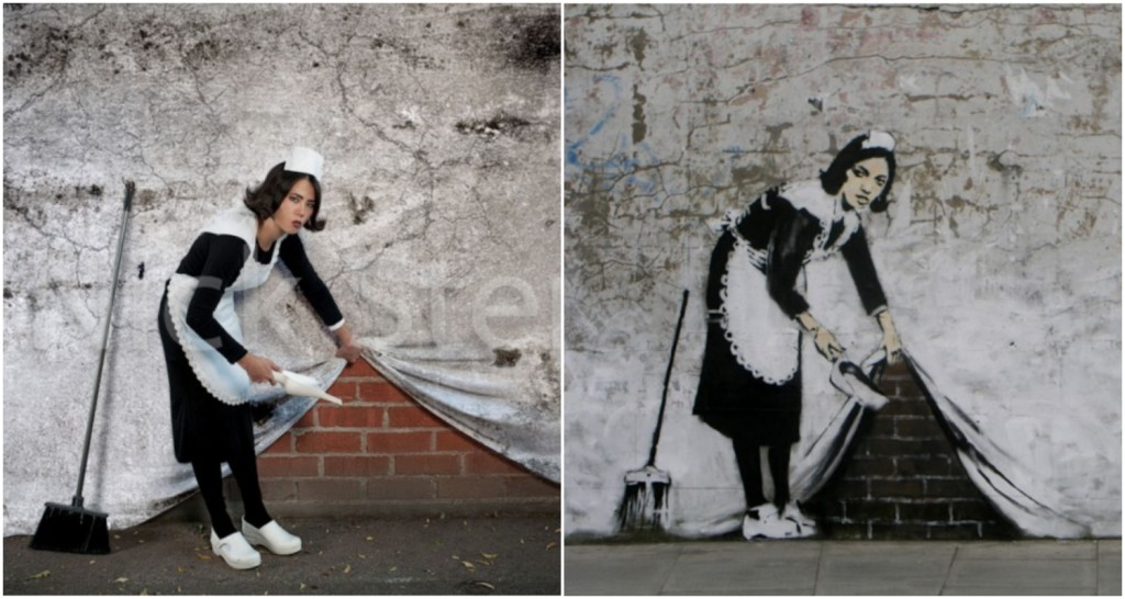 Maid Sweeping Under Wall